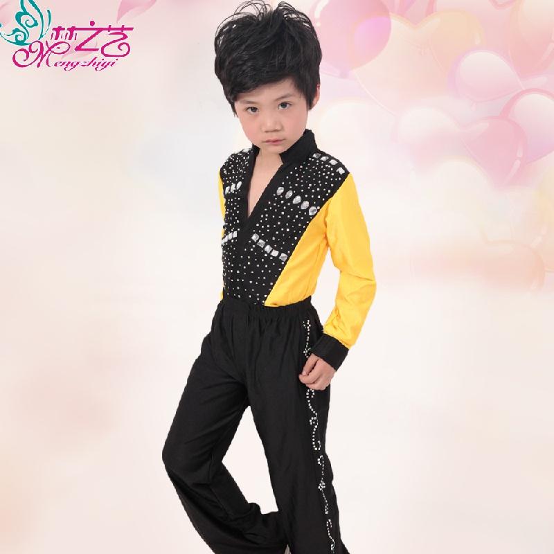 【儿童拉丁舞服装新款少儿长袖恰恰舞服男幼儿舞蹈