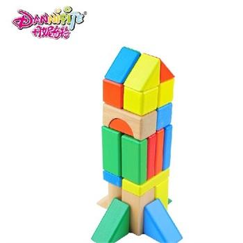 丹妮奇特 彩色益智积木木制72粒 木质大块儿童早教积木组建玩具