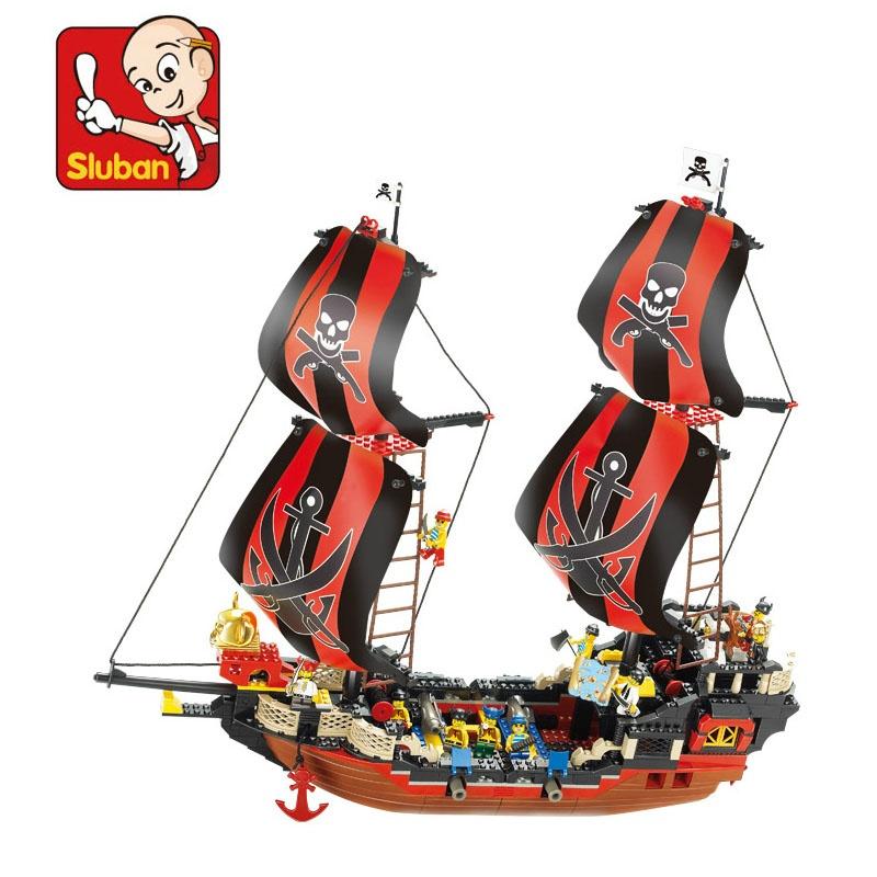 【小鲁班积木 加勒比海盗船模型黑珍珠号