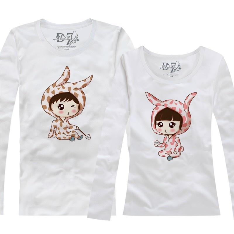 2015新款韩版秋装 可爱睡衣男女情侣装长袖袖打底t恤