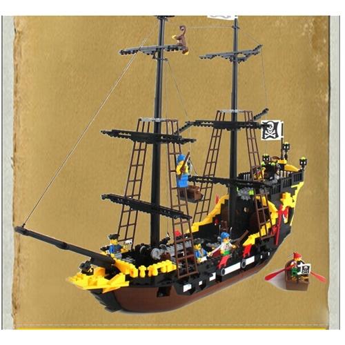 启蒙 乐高式积木 智力拼装积木黑珍珠海盗船 308