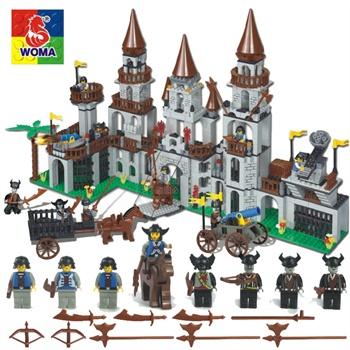 沃马乐高式拆装组装拼搭益智拼插拼装玩具塑料积木模型龙骑士城堡