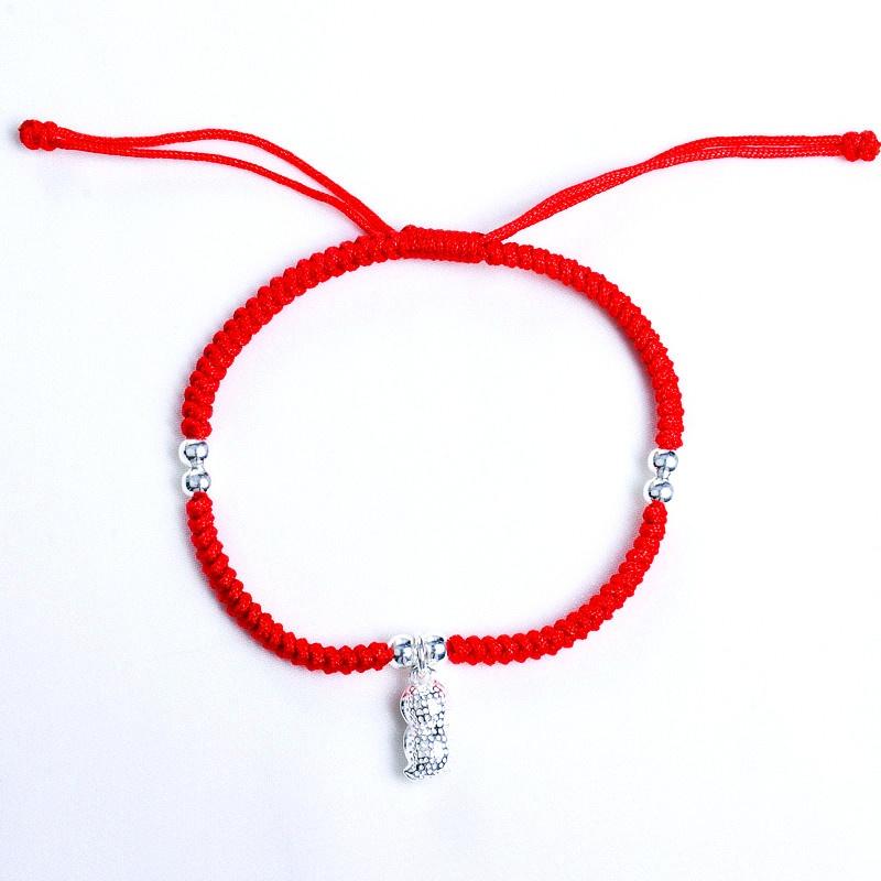 【心缘奇遇】时尚手工红绳手链 搭配925银可爱小花生