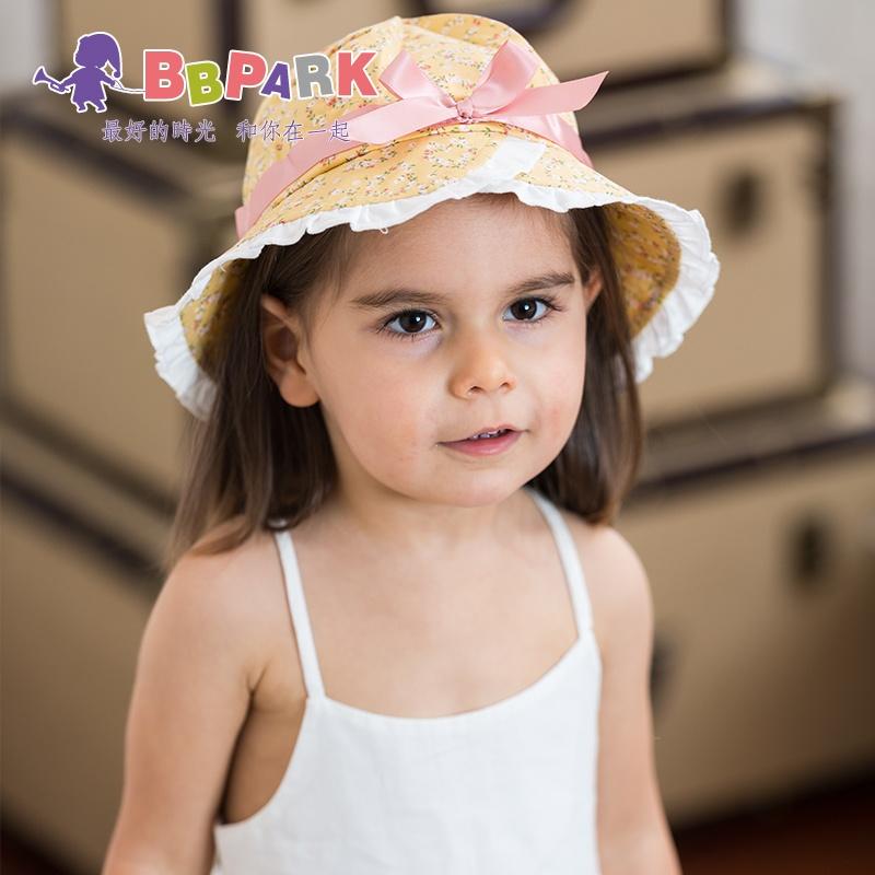 花边遮阳帽男女童沙滩帽