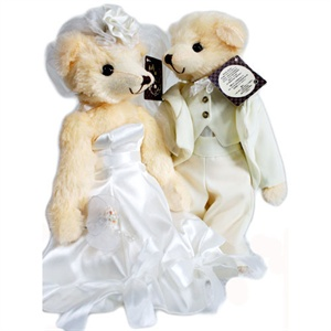 泰迪传说 婚纱泰迪熊之蝴蝶结裙 白色蝴蝶结+白色西服 纯手工制作 35cm x 10cm泰迪传说/毛绒