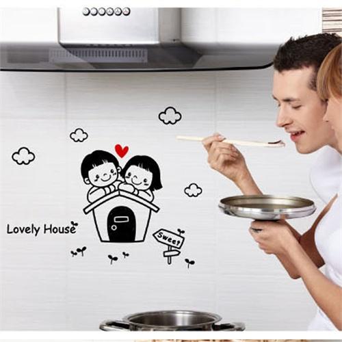 卧室床头背景卡通情侣浪漫装饰壁纸墙