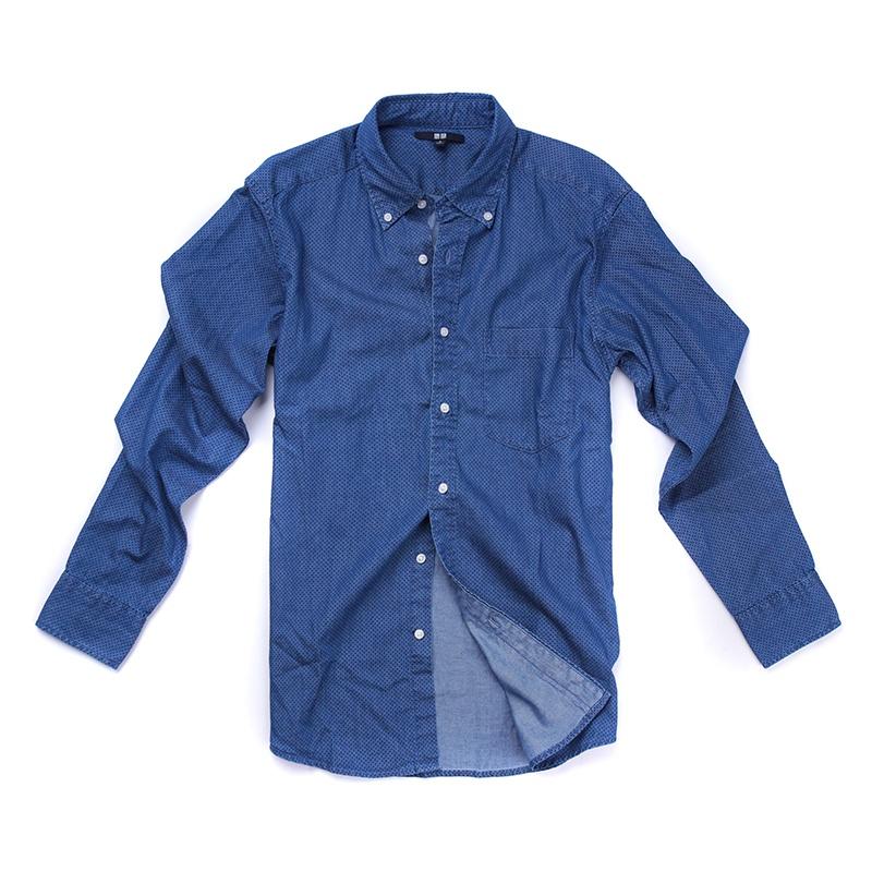【优衣库男牛仔蓝衬衫图片】高清图_外观图_细节图