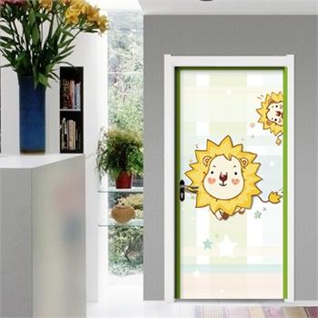 宜美贴 可爱狮子 儿童房室内门装饰墙贴纸 独家创意卡通门贴