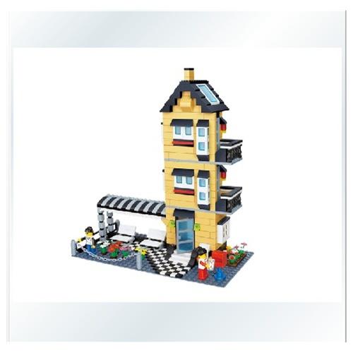 万格积木正品拼插玩具乐高式塑料拼装积木乐高小人城市中别墅房子