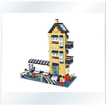 拼插玩具乐高式塑料拼装积木乐高小人城市中别墅房子