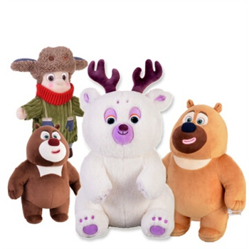 正版熊出没雪岭熊风团子熊大二光头强毛绒玩具公仔版