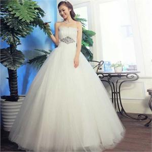 名门新娘婚纱礼服 新款 韩版齐地婚纱 甜美公主抹胸婚纱830