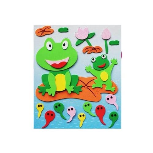 陆捌壹肆 海绵3d立体粘贴拼图 海绵纸 儿童手工贴画 益智玩具 随机