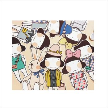 陆捌壹肆 bentoy女孩兔子贴纸书签套装 9书签9贴纸 卡通可爱 3包装