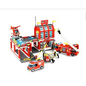 启蒙城市消防局总局兼容乐高拼装积木塑料拼插益智力