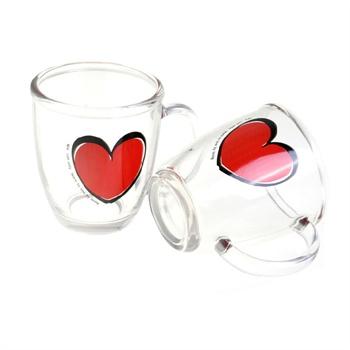 卡通水杯茶杯创意把杯子大红心水杯两只礼盒装pg944
