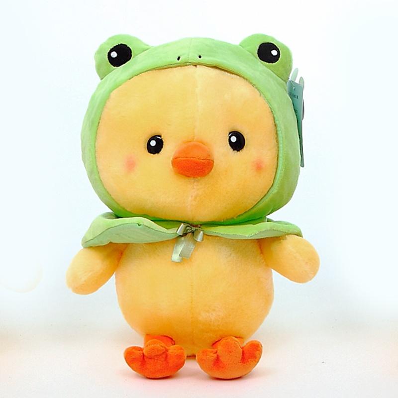 【蓝白玩偶可爱小黄鸡公仔假扮青蛙熊猫小熊水果毛绒