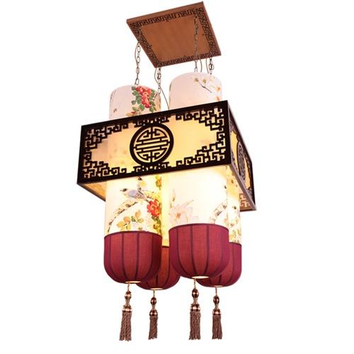 【比月】中式灯具古典手绘中国画羊皮灯餐厅吊灯新品