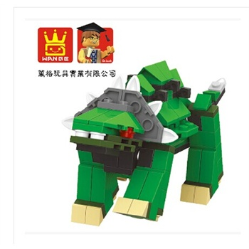 正品万格积木 启蒙星钻乐高式拼插玩具恐龙系列 霸王龙一套六款_灰色