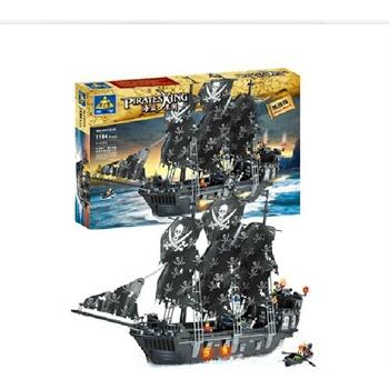启蒙正品乐高式拼装塑料积木海盗船开智黑珍珠