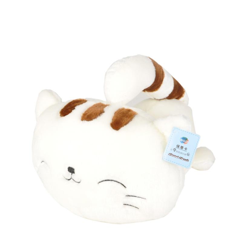 大脸猫毛绒玩具抱枕布娃娃可爱猫咪公仔大尾巴送女友情人节礼物_白色