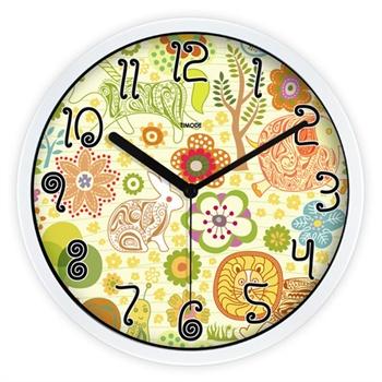 优时timode静音挂钟 儿童卧室静音可爱钟表 动物园卡通钟gza0056_白色