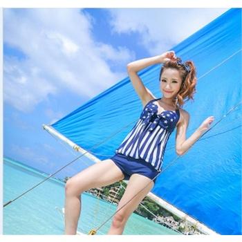 【欢乐谷b】女透明性感海军风遮肚保守连体平角泳衣