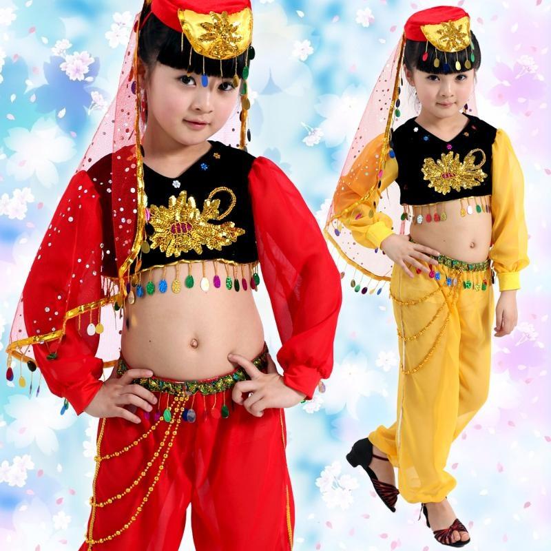 【六一儿童演出服装 幼儿舞蹈演出服装新疆印度舞