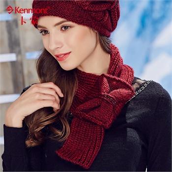 kenmont冬季毛线围巾女韩国冬天编织蝴蝶结保暖围脖