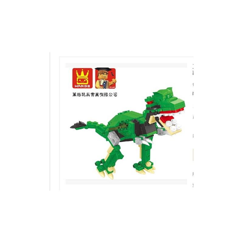 正品万格积木 启蒙星钻乐高式拼插玩具恐龙系列 霸王龙一套六款_棕色