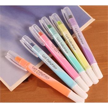 韩酷806 可爱固体果冻笔头荧光笔 记号笔蜡质划线笔蜡笔6色