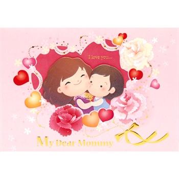 台湾四季 创意母亲节康乃馨贺卡卡片 送妈妈实用礼物祝福卡 亲子 批发
