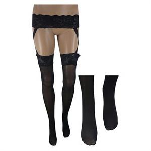 [当当自营]beileisi蓓蕾丝 时尚交叉蕾丝花边吊带袜(黑色)2011-2高清图片