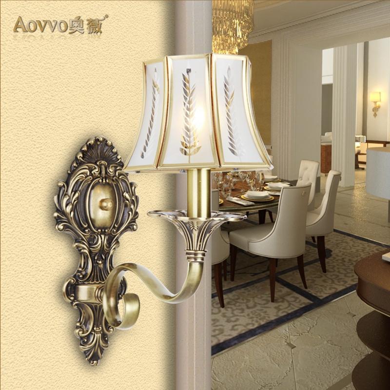 奥薇 欧式经典铜灯具壁灯饰床头灯门厅灯过道灯楼梯间灯1100w