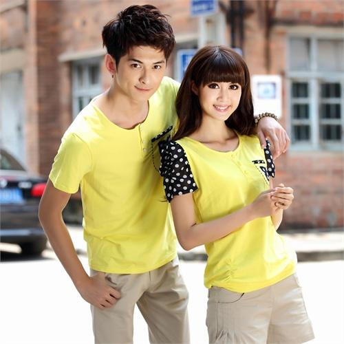 韩版情侣装 夏装 小清新大码可爱学生装夏季短袖女上衣半袖学生装