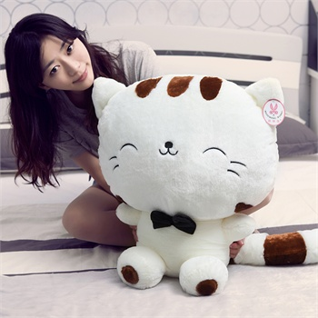 布高兴可爱招财猫公仔毛绒玩具生日礼物布娃娃猫大脸猫_白色65cm含