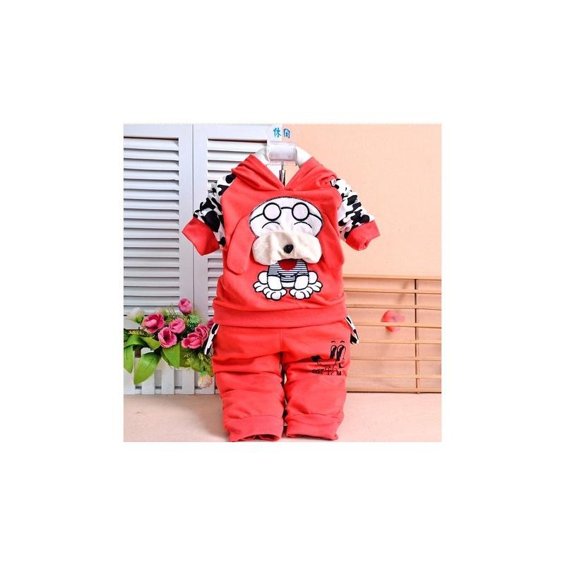 童趣熊 2014春秋儿童套装 可爱大耳朵狗带帽卫衣运动宝宝休闲套装