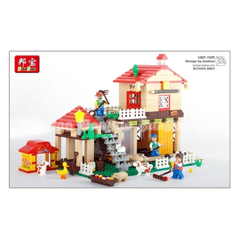礼物儿童益智玩具正品邦宝拼插积木别墅系列塑料建构农场动物积木