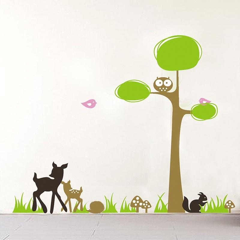 可爱小动物墙贴 可移除墙壁装饰画 墙纸 客厅 卧室 床头 家居必备.