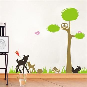 可爱小动物墙贴 可移除墙壁装饰画 墙纸 客厅 卧室 床头 家居必备家装