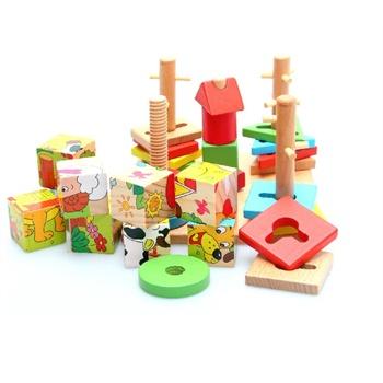 巧之木多彩智慧拼盘动物五柱套柱拼图组合形状配对制