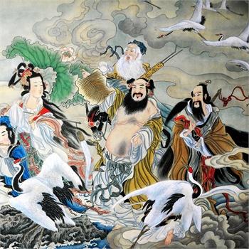 墨香阁 八仙过海 各显神通 半手绘 风水画 四尺 水墨画 中国画 书画