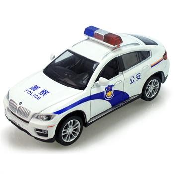 兒童玩具寶馬x6警車警笛警燈原廠四開門合金聲光回力兒童小汽車玩具