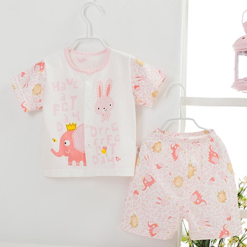 童装男女童纯棉汗布短袖套装婴儿童夏季空调服套装宝宝衣服_小象浅粉