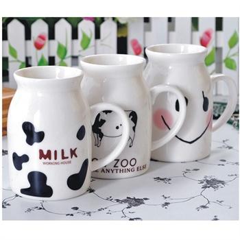 陆捌壹肆 带盖陶瓷杯子牛奶杯情侣杯咖啡杯马克杯星巴克杯可爱创意