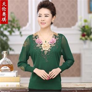 天伦奥琪 中老年女装 中老年妈妈装女装服装新款针织衫YR9902