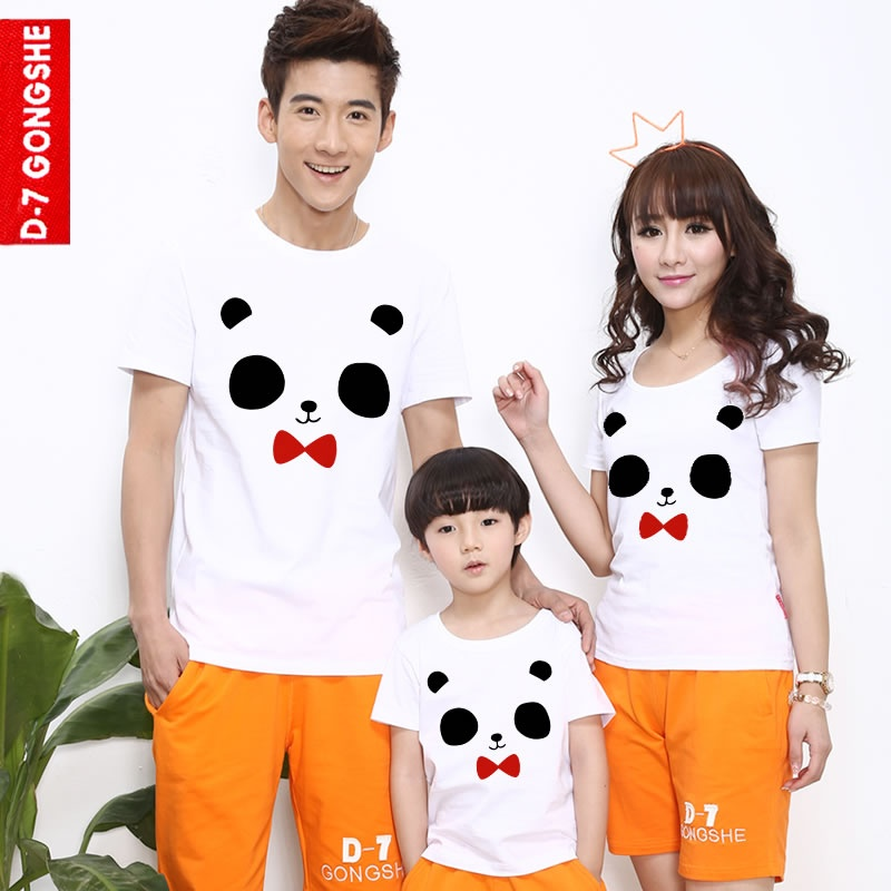 第七公社 2014夏装新款家庭亲子装可爱熊猫眼一家三口纯棉短袖t恤