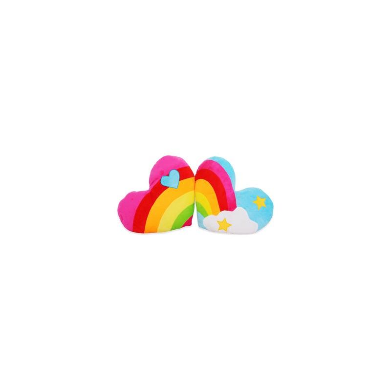 彩虹云朵心形靠垫