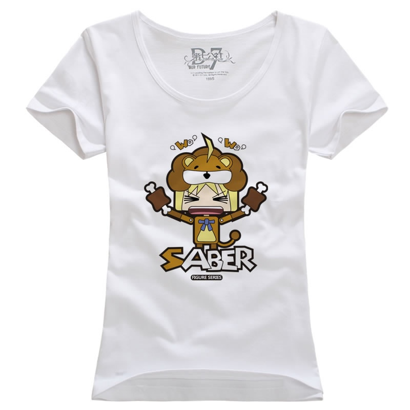 第七公社 韩版新款亚瑟王saber狮子塞巴动漫夏装男装纯棉短袖t恤_白色