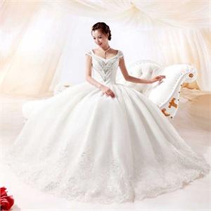 名门新娘婚纱 奢华水钻婚纱 韩版公主齐地婚纱 最新款 912